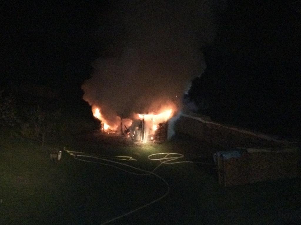 Brand einer Gartenhütte in Rheinweiler (1)