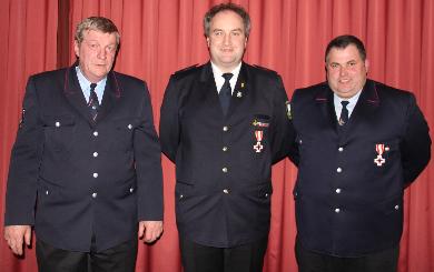 Für 25 Jahre aktiven Dienst wurde Marco Maier und Stefan Weh von Stv. Kreisbrandmeister Schmid geehrt.